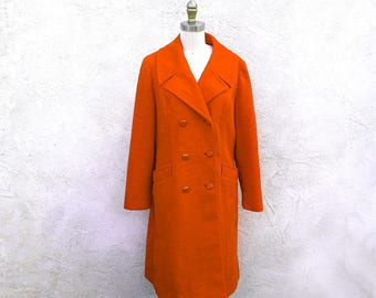 Vintage 70s Orange Coat, Double Breasted Polyester Long Jacket