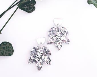 Acrylic earrings silver glitter earrings - vintage look - chunky glitter statement earrings - laser cut jewelry