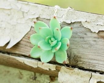 Light Green Succulent Pendant Necklace Polymer Plant Succulent Medallion Wedding Bridal Gift
