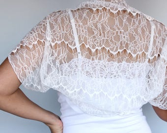 Lace Bridal Bolero, White Eyelash Lace Shrug Wrap Dainty Wedding Dress Coverup Top Shabby Chic, Shoulder Cover Romantic Unique Design Jacket