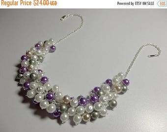 40% OFF SALE thru Tues Lilac Purple Beige Green Pearl Cluster Necklace, Mom Sister Grandmother Jewelry Gift, Bridesmaid Wedding Necklace, Co