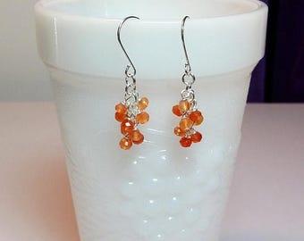 30% OFF SALE thru Sun Orange Carnelian Gemstone Cluster Drop Earrings, Mothers Day Christmas Gift, Mom Sister Bridesmaid Girlfriend Birthday