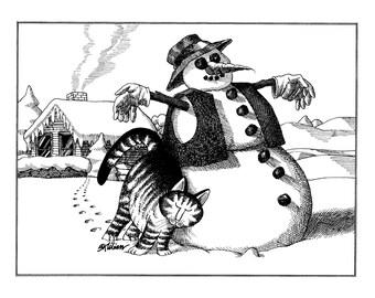 Kliban Cat Cartoon, original vintage art print, snowman, winter is coming