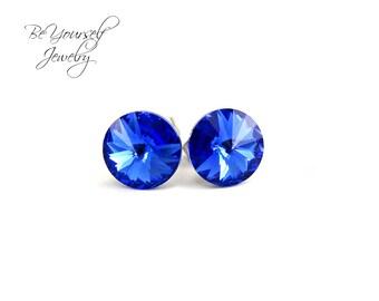 Sapphire Stud Earring Swarovski Crystal Navy Blue Bridesmaid Earring Flower Girl Gift Stainless Steel Earring Wedding Jewelry Something Blue