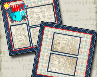 JULY 4TH - 2 Premade Scrapbook Pages - EZ Layout 2137