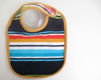 EcoBib--Adjustable Snap Closure--Modern Print Stripes on Navy--Ready to Ship