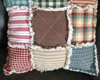 "Rag Quilt throw Pillow in a variety of homespuns 13"" Square Stuffed Full muslin back READY TO SHIP"