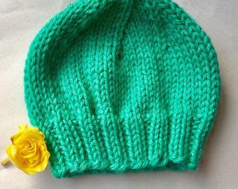 Green Newborn Hat, Seafoam Green, Mint Green, Spring Green Beanie, Machine Washable, Photo Prop, Going Home Hat, Hospital Hat