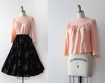 vintage 1930s blouse // 30s peachy pink blouse