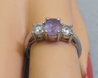 Sterling Amethyst Engagement Style Ring, Size 7