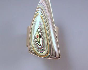Fordite- Detroit Agate- Very Rare- Awesome Bull's Eye- 1950's- 1960's Fordite - Golden Statement Ring- Fordite Ring