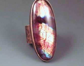 Labradorite- Spectrolite- One of a Kind- Hammered Copper- Metal Art RedPaw Statement Ring
