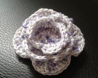 Crocheted  hair clip,flower hair clip,handmade hair clip,knitted hair clip,white purple flower hair clip,sparkling hair clip by magyartist
