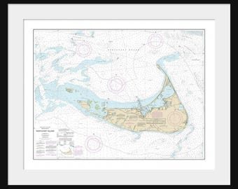 Nantucket Island Map - Nautical Map - Nautical Chart - Map Art - Print - Poster