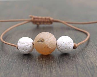 White Lava Stone and Druzy Aromatherapy Bracelet Beaded Adjustable Essential Oil Diffuser Bracelet