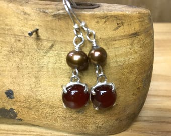 Prong setCarnelian  and pearl earrings, sterling silver