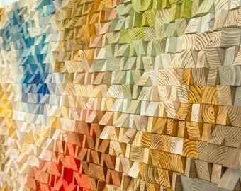 Large Wood Wall Art, 2017 colour trends, geometric art