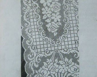 Vintage 1950's Laura Wheeler Mail Order Filet Crochet Scarf and Mat Design No. 731