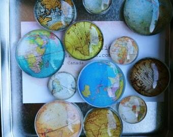 Dozen Glass Fridge Magnets Old World Maps (set of 12)