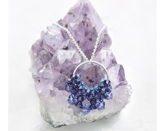Purple / Round Necklace / Circle Necklace / Open Circle Necklace / Crescent Necklace / Drop Pendant / Circle Pendant / Round Pendant