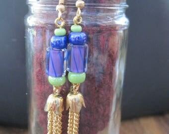 OOAK David Christensen Lamp Work Bead Dangle Earrings..Blues,Green,Purple Hand Made... Original Design...1622h