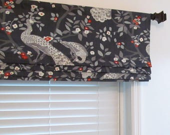 Lined Faux Roman Shade  Bird Branches Dwell Studio Modern Caravan Collection Plume Redux/ Custom Sizing Available!
