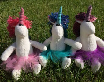 Custom Order Pink, Teal Blue, or Purple Unicorn in a Tutu