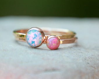 ROSE GOLD OPAL Ring Set- Opal Ring - 4mm and 6mm opal ring -Opal Stacking Ring - Skinny Opal Ring - October Ring - October Jewelry