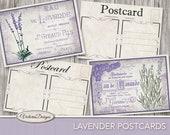 Lavender Postcards 5 x 3.5 inch printable back design printable paper crafting art instant download digital collage sheet - VDCAVI1419