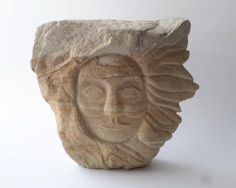 Original stone carving, Sunny Day, sandstone carving, rock art, stone sculpture