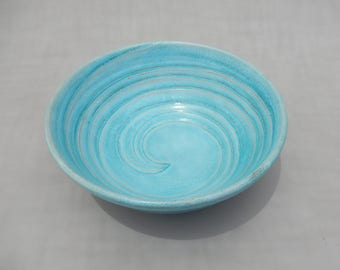 Ceramic Serving Bowl - Handmade Pottery Salad Bowl- Turquoise and Terracotta Mixing Bowl