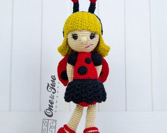 June the Ladybug Girl Amigurumi - PDF Crochet Pattern - Instant Download - Amigurumi crochet Cuddy Stuff Plush