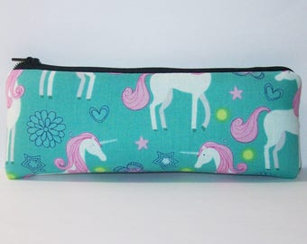 "Pipe Pouch, Teal Unicorn Bag, Pipe Case, Glass Pipe Bag, Vape Pen Bag, Magical Gift, Weed, Cannabis, Cute Pouch, Zipper Pouch - 7.5"" LARGE"