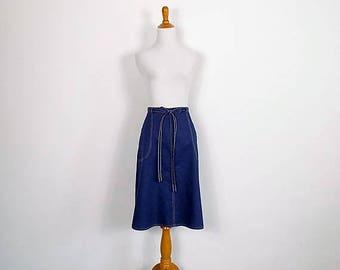 ON SALE Vintage 70s Navy Cotton WrapSkirt - Size Small to Medium