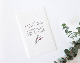 Cute Love Card - Valentine - You & Pizza