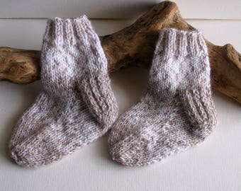 Unisex  hand knitted baby boy or girl self patterning socks.  9 to 18 months. UK 3  EU 19  US 3.5 White and brown