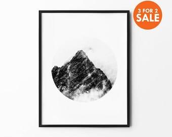 Mountain Wall Art, Winter Print, Foggy Mountain, Nature Wall Art, Tree Decor, Winter Art, Black and White, Photography Print, Natural Decor,