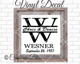 DIY Established Family name split letter Vinyl Decal ~ Glass Block ~ Car Decal ~ Mirror ~ Ceramic Tile ~ Computer