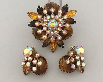 Statement Rhinestone Brooch Set - Designer Signed JUDY LEE Rhinestone Set - Clip On Earrings Set - Amber Rhinestone Fall Jewelry Brooch