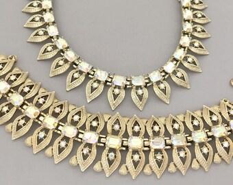 Vintage CORO Rhinestone Statement Jewelry - Rhinestone Necklace Bracelet Set - Statement Necklace - Bold Statement Bracelet Collar Necklace