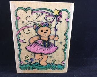 Magic Wand Frolic Fairt Teddy Bear Limited Edition 1990 Used Rubber stamp Hero Arts