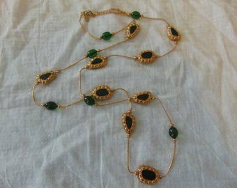 vintage louis dell'olio olive green stations necklace green gold  beaded