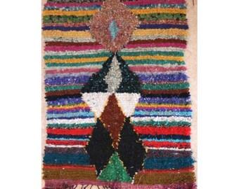 "200X150 cm 6'6"" x 4'11""      L31366  boucherouite , boucharouette,  moroccan rugs , berber rugs, morocco carpets"