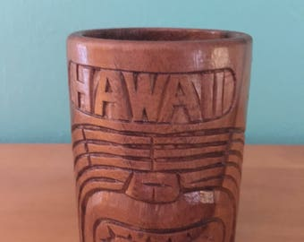 Retro 1960s Vintage Hawaiiana Tiki Carved Monkey Pod Hawaii Mugs