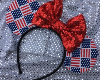 Red white and blue mouse ears - usa mickey ears, america mouse ears, flag mouse ears, flag mickey ears, Fourth of July mouse ears