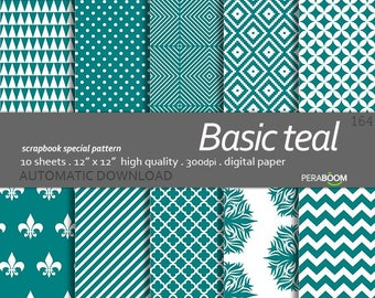 Teal Digital Paper Pack, Teal Scrapbook Paper Pack, Digital, Small Commercial Use, Basic patterns, Wedding, Birthday