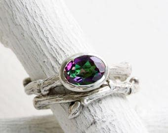 Mystic Topaz Engagement Rings, Silver Twig Rings, Nature Rings, Oval Mystic Topaz 8x6mm