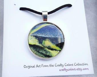 Mini Painting Pendant Original Abstract Art Wearable Art Necklace 3372