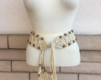 Vintage 60s 70s Hippie Beaded Macrame Belt Woven and Knotted Belt Small Medium Large