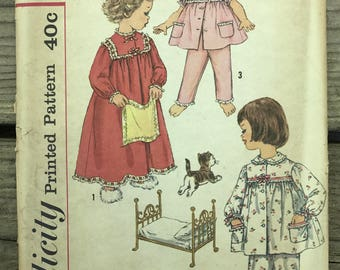 Vintage 50s Simplicity 3243 Sewing Pattern / vintage Childs Pajamas and Nightgown Sewing Pattern Size 3 Uncut